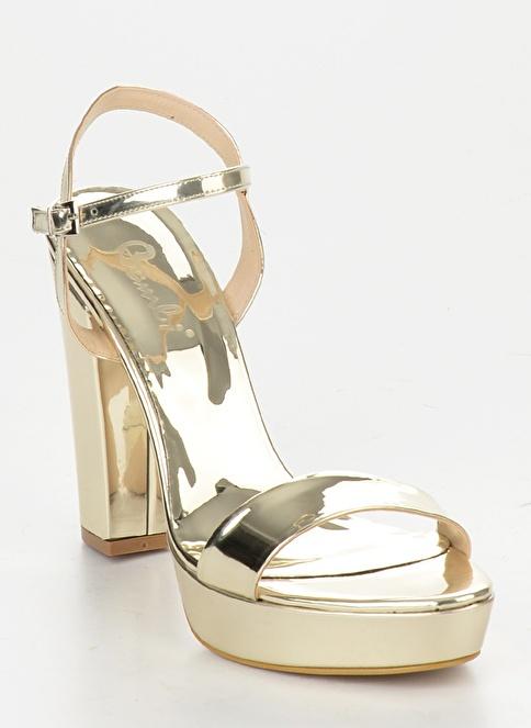 Bambi Kalın Topuklu Ayakkabı Altın